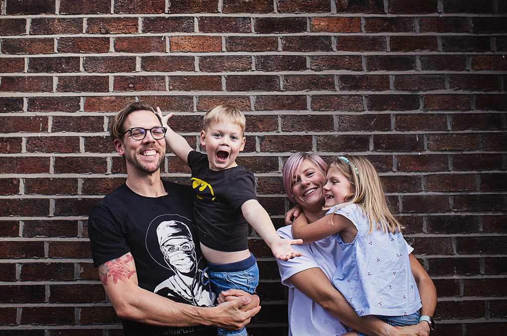 Chorlton family photographer {Rachel, Chris, Alice + Thomas' doorstep shoot + lockdown interview}