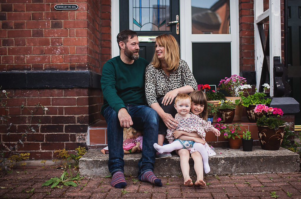 Chorlton family photographer {Lou, Ben, Marnie + Sid's doorstep shoot + lockdown interview}